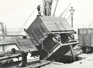 Poplar Dock on 22nd June 1898, showing a side-discharge wagon on a hydraulic tip.