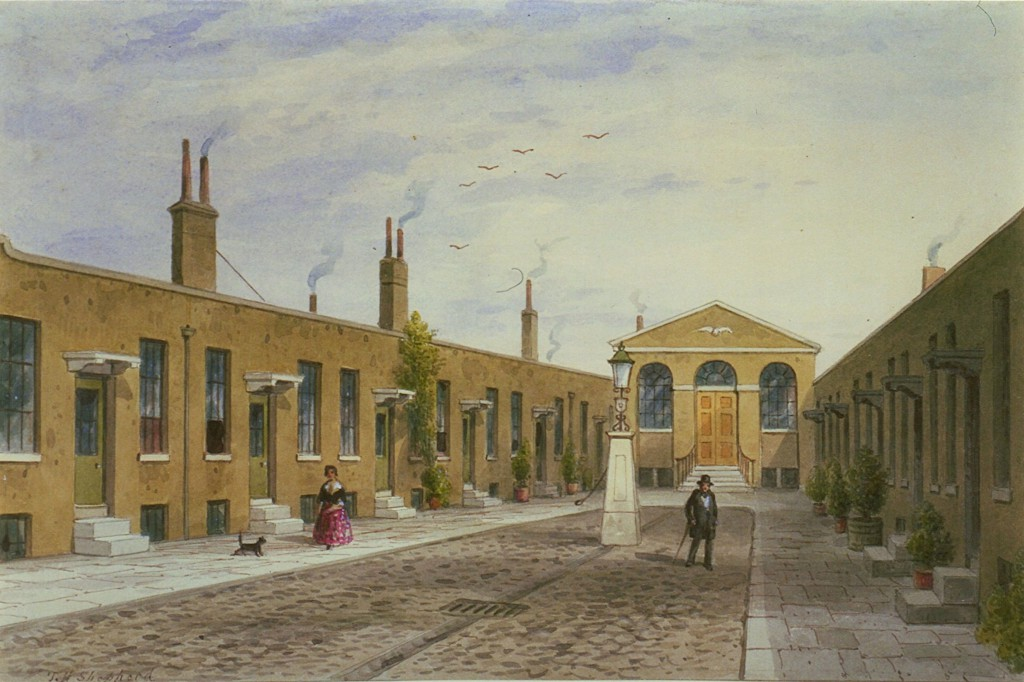 View of Vintners' Almshouse, Mile End Road (Copyright London Metropolitan Archives, City of London, and reproduced with permission.)